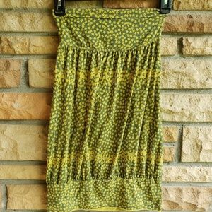 Free People Green Star strapless tunic XS